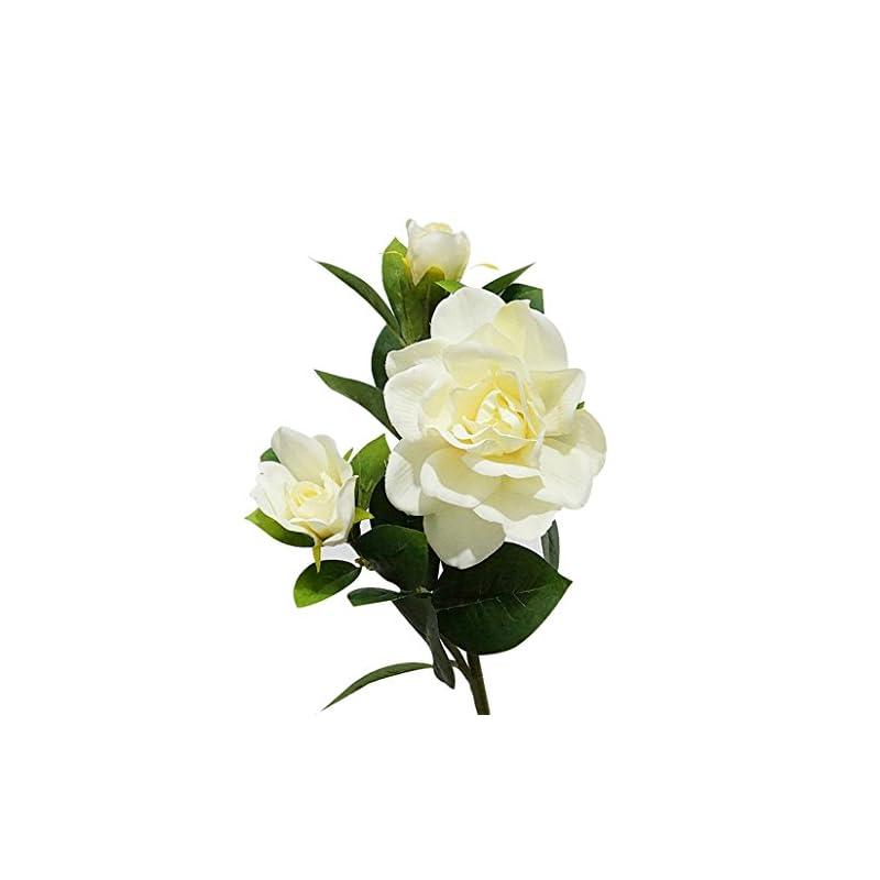 silk flower arrangements honghong 3-heads artificial gardenia flower bouquet decoration flowers (milk white)