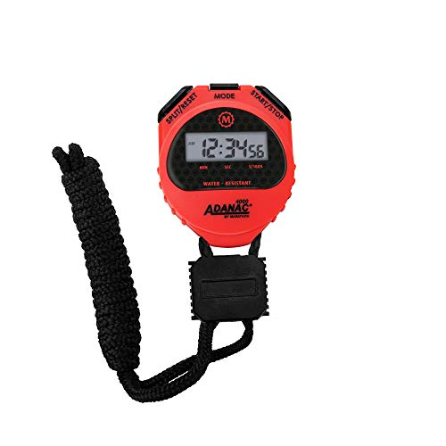 Marathon ADANAC 4000 Digital Stopwatch Timer with Extra Large Display and Buttons, Water Resistant, 2-Year Warranty - Battery Included - ST083009RD (Red)