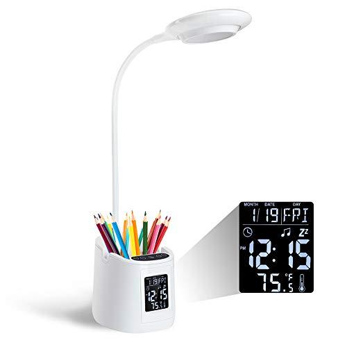 KKUYI Kinder Schreibtischlampe Augenschutz Study Lamp Dimmbare Kinder Leselampe mit Telefonhalter und Stifthalter, 3 Farbmodi, Stufenloses Dimmen, USB wiederaufladbar, Kalenderalarm Temperaturanzeige