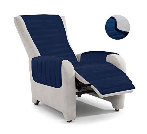 Italian Bed Linen PO-Rec Copripoltrona Reclinabile, Microfibra, Blu Scuro/Grigio Chiaro, Misura Standard