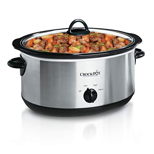 Crock-Pot 7-Quart Oval Manual Slow Cooker, Stainless Steel Image