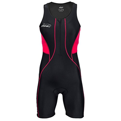 ZAOSU Damen Trisuit Z-Revolution   Triathlonanzug Einteiler für den Wettkampf und das Training, Farbe:schwarz/rot, Größe:S