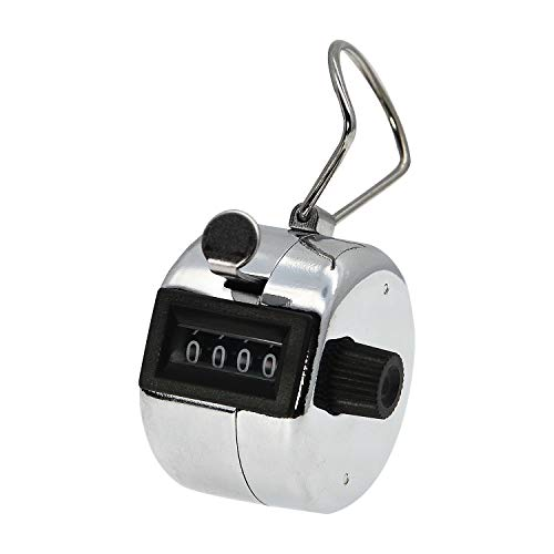 AMTAST Metal Hand Tally Counter Clicker 4 Digit Mechanical Palm Counter Clicker with Finger Ring Number Count for School Golf & Concert