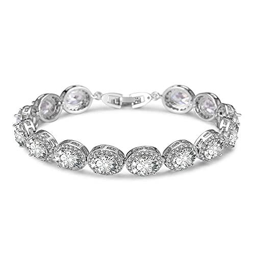 WYZXR Lzz Pulsera de Plata Aurora para Mujer - Pulsera de Tenis con Elementos de circonita cúbica (CZ) Cristales ovalados - Diamante Real Brillante - Diseño clásico