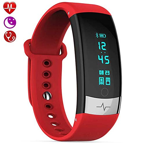 Activity Tracker, Fitness Tracker Met Hartslagmeter, Slaapmonitor, Bloeddrukmeter, IP67 Waterdicht, Stappenteller, Smartwatch Voor Dames, Android iOS,Red