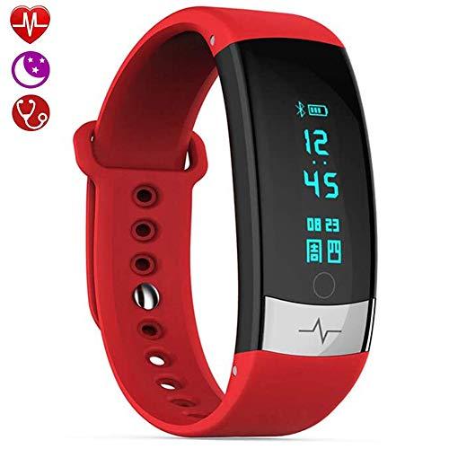 Activity Tracker, Fitness Tracker Met Hartslagmeter, Slaapmonitor, Bloeddrukmeter, IP67 Waterdicht, Stappenteller, Smartwatch Voor Dames, Android iOS,Red
