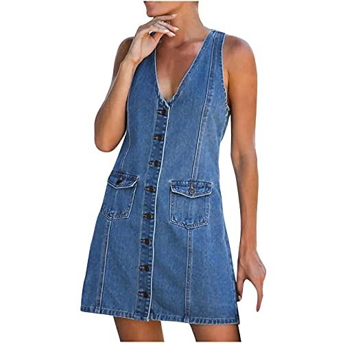 StarneA Jeanskleider Damen, Ärmellose Tank Kleider V Ausschnitt Sommerkleid Kurz Kleid Damen Elegant Strandkleid Sexy Minikleider Freizeitkleid