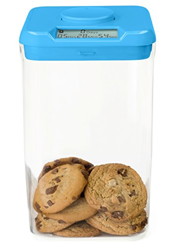 Kitchen Safe Container with safety lock with timer (Azul/Transparente (Blue Lid + Xl Clear Base))