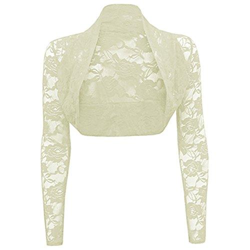 Damen Langärmlig Spitzenbesatz Damen Bolero Jacke Bolero Top Strickjacke 8-26 - Creme - Damen Promis Spitzenbolero, XL 16-18 Plus Size
