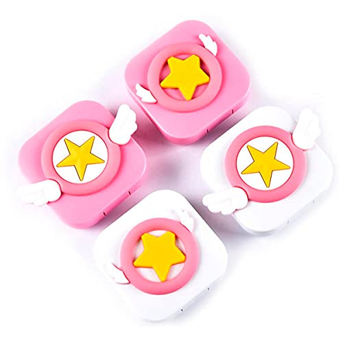 4 PCS Contact Lens Case - Cute Travel Eye Care Kit Portable Contact Lens Container Mirror Box with Tweezers Remover Tool & Lenses Saline Solution Clear Bottle Star Wings Cases Mini Holder