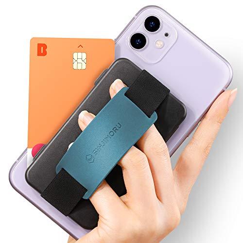 Sinjimoru Handy Kartenhalter, 3in1 Slim Wallet & Handy Halter mit Ständer, Handy Fingerhalter, Fingerhalterung Handy für iPhone und Android, Sinji Card Zip Band Grip. (Schwarz mit Band Petrol)
