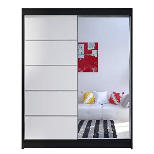 Mirjan24 Kleiderschrank Metropolis III mit Aluminiumgleitschienen Schwebetürenschrank Kleiderstange Einlegeboden Garderobe Diele & Flur...