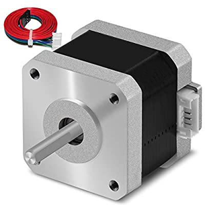 Stepper motor Nema 17 1.5A 17HS4401 1.8°4 lead for 3D printer CNC XYZ with 1M wire with insulated sleeves (0.42 Nm, silver, 3 pieces)
