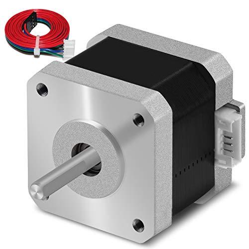 Schrittmotor Nema 17 1.5A 17HS4401 1.8°4 führen für 3D-Drucker CNC XYZ mit 1M Draht mit isolierten Hülsen (0.42 Nm, Silber, 1Pcs)