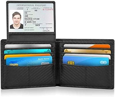 WalletforMen,CarbonFiberRFIDBlockingWalletGenuineLeatherStylishCarbonFiberSlimTrifoldWalletswith10CreditCardPocketsand2IDWindow
