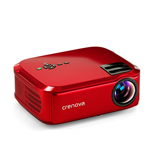 Crenova Native 1080p Projector, 6000Lux Outdoor Movie Projector, Full HD Video Projector with 200' Image Display, LED Home Theater Projector Supports 4k Compatible with TV Stick, Roku, Phone, Laptop