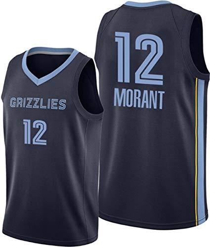 ATI-HSKJ Ja Morant # 12 Hombres del Jersey, NBA Memphis Grizzlies Ventilador Jersey Retro Bordados Malla De Baloncesto Ropa De Entrenamiento, Unisex Camiseta Sin Mangas,S(165~170cm/50~65kg)