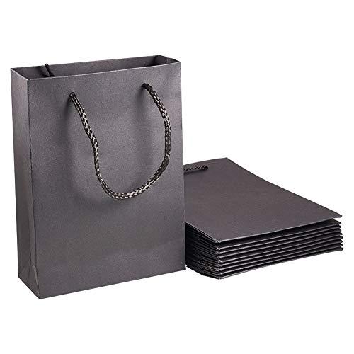 NBEADS Geschenktüten Aus Kraftpapier mit Nylon-Griffen, Schwarz, 10 Stück, Papier, Schwarz, 20×15×6cm
