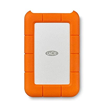 LaCie Rugged Mini 1TB USB 3.0 Portable 2.5 inch External Hard Drive for PC and Mac, Orange / Grey