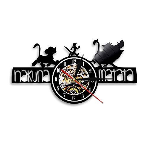 YUN Clock Wanduhr aus Vinyl Schallplattenuhr Upcycling 3D The Lion King(C) Design-Uhr Wand-Deko Vintage Familien Zimmer Dekoration Kunst Geschenk Ø: 30 cm