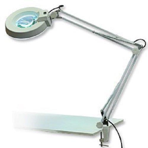 Laron S3201 - Lámpara de mesa con lupa para manicura (aumento de 8 dioptrías, diámetro del vidrio 12 cm)