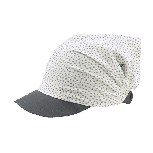For you Kopftuch Dreiecktuch Mütze Schirmmütze Stirnband für Mädchen Kinder Baumwolle mit Muster-Punktchen Schirmmütze (46/48 cm M, Weiß/Grau)