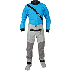Hydrus 3.0 (3-layer) fabric Nylon waterproof front entry zipper Latex wrist gasket with adjustable hook & loop cuff Latex neck gasket Reinforcement seat and knee patches; self draining
