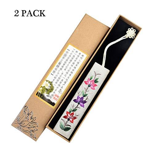 Segnalibri 2PCS mano ricamati Preferiti, in stile cinese Retro tessuto Bookmarks, regalo ideale for amici e parenti Articoli di Cancelleria