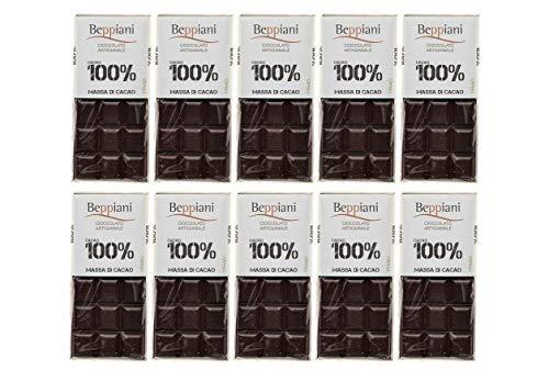 Set 10 Tavolette 100% Massa di Cacao - 450 g, Beppiani – Cioccolato Artigianale – MADE IN ITALY (SET 10)