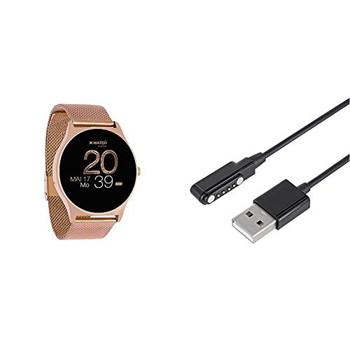 X-WATCH 54029 JOLI XW PRO - Damen Smartwatch - iOS - Schrittzähler Uhr - Fitness Rosegold & 540074 Smartwatch Ladekabel für XLYNE Qin XW Prime II Schwarz