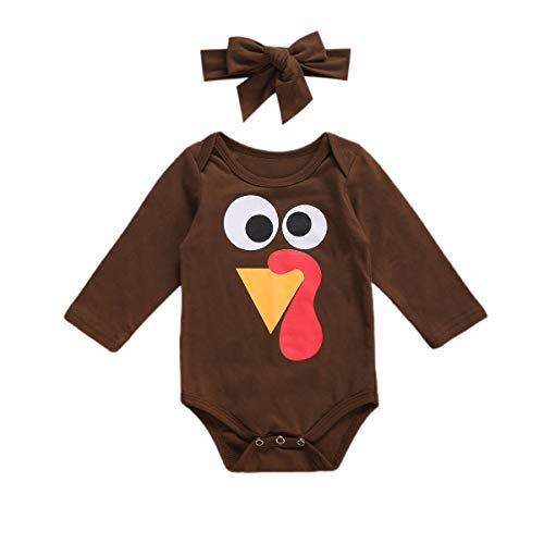 Infant Baby Boy Thanksgiving Outfit Long Sleeve Turkey Romper Bodysuit Brown Onesie Headband Fall Clothes Set (Brown Turkey,18-24 Months)