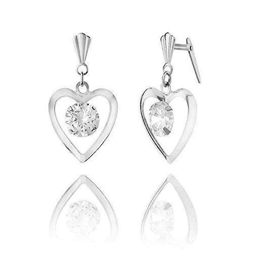 Sterling silver heart crystal Andralok drop earrings/Gift box