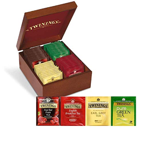 Twinings Degustazione Confezione Regalo Scatola in Legno - 40 filtri: English Breakfast Tea, Earl Grey Tea, Red Fruits e Pure Green Tea - Idea Regalo Natale