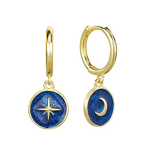Pendientes chapados en oro de 14 quilates, diseño de estrella de la luna, plata de ley 925, esmalte azul, pendientes de aro de oro para mujeres.., Plata de ley,
