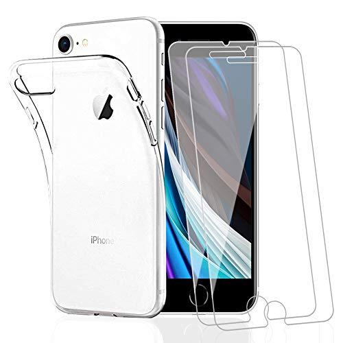 Amonke Funda para iPhone SE 2020 + 2 Pcs Protector de Pantalla para iPhone SE 2020 Cristal Templado, Flexible Suave Silicona Transparente TPU Carcasa + Vidrio Templado para iPhone SE 2020