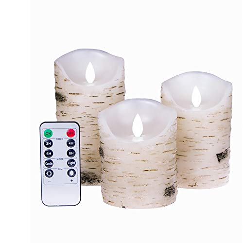 Flameless Candles, Wax Birch Bark Led Candles, 3-Piece Set Battery Operated Candles Electric Waterproof Warm Light Flickering Candles with Remote Timer
