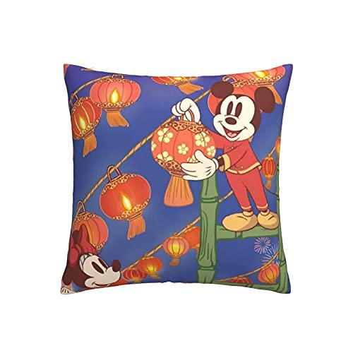Almohada de Mickey Cartoon Minnie Mouse con cremallera oculta, apertura y cierre, súper suave y cómoda, con decoración de doble cara, 45,7 x 45,7 cm