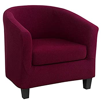 NIBESSER Club Chair Slipcover Stretch Armchair Covers Tub Chair Covers Sofa Cover Furniture Protector Cover Jacquard Spandex Couch Covers for Bar Counter Living Room  Burgundy
