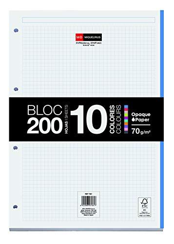 Miquelrius - Bloc Recambio Hojas Encoladas, 10 Franjas de Colores, 200 Hojas Cuadriculadas de 5 mm, Tamaño A4, Papel 70 g, con 4 Taladros