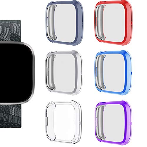 SMEECO Case for Fitbit Versa 2 Only (6 Pack) Full Cover Screen Protector Flexible Lightweight Soft TPU case Shock Proof Bumper Shell 2