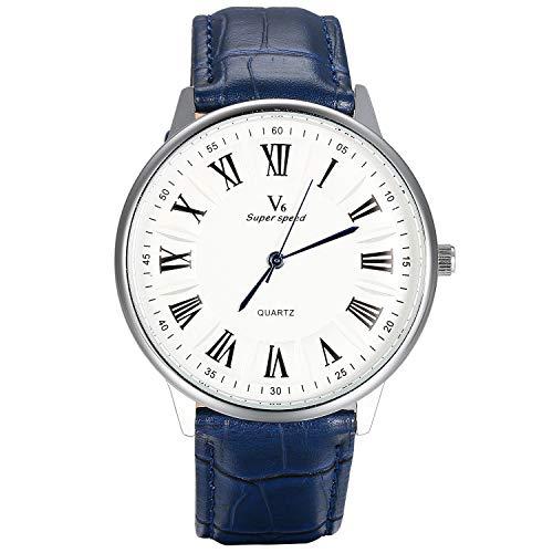 Lancardo Reloj de Correa para Hombre Mujer Unisex Reloj de Cuarzo Pulsera de Cuero PU Sólida Esfera Redonda Dial con Escala y Números Romanos PC21 Importado de Japón 3 ATM Impermeable Azul