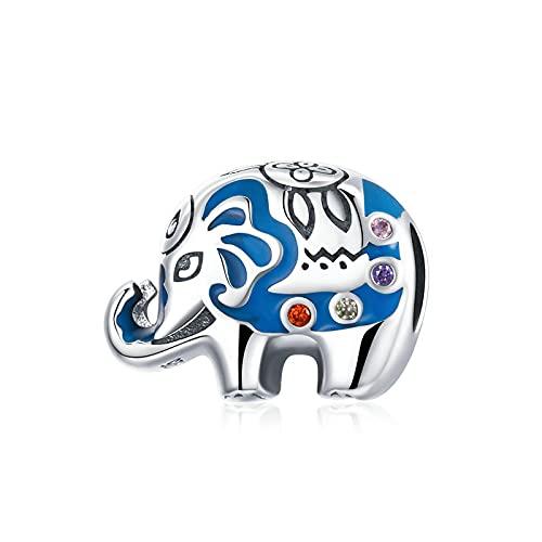 SANHUA Colgante De Plata Esterlina S925, Cuentas De Elefante Coloridas, Colgante De Animal Arcoíris, Pulsera Original, Collar, Joyería DIY