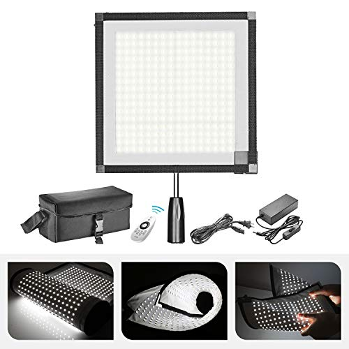 Neewer Rollable 30x53cm LED Light Panel Mat on Fabric 48W 4500LM 5600K CRI 90+ 512 LED Light Panel with Handle Grip, Remote Control, Diffuser Cloth, Carry Bag for Traveling Outdoor Photography