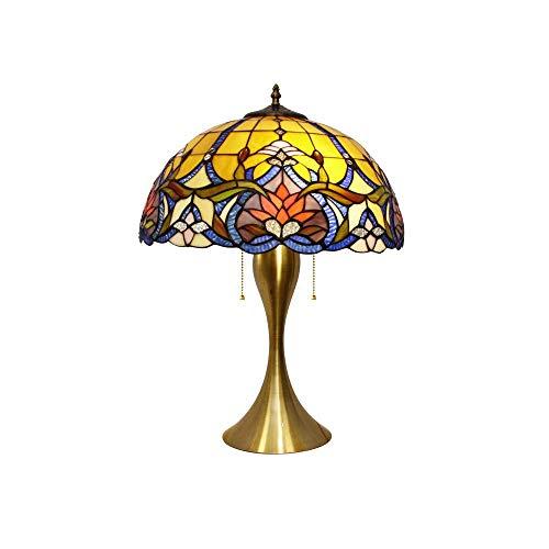 Lámpara de mesa Tiffany, estilo vintage, con diseño artístico, base de hierro, para estudios, salón