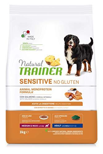 Natural Trainer Sensitive No Glutine - Cibo per Cani Medium-Maxi Adulti con Salmone e Cereali Integrali - 3kg