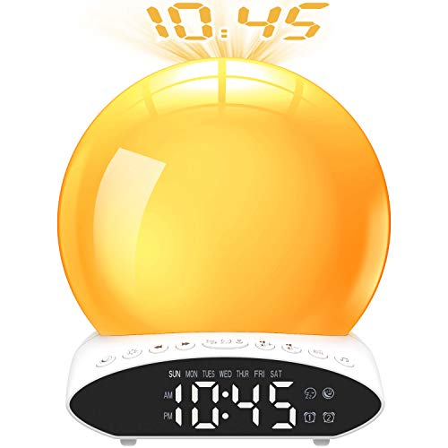 Fuloon Wake Up Light Sunrise Alarm Clock - Night Light Eyes Protection with Projection Clocks, FM Radio,Nature Sounds and Atmosphere Lamp Function Dual Alarm Clocks for Kids Adults Bedrooms