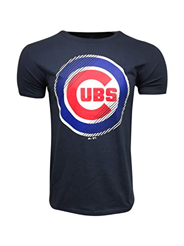 Majestic Herren T-Shirts Chicago Cubs MLB Crew Neck T-Shirt, Navy Mr06 Slash, Large