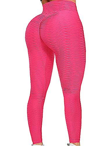 Seasum Leggings de yoga con textura elástica – Pantalones de entrenamiento de cintura alta fruncidos con flexiones -  Rojo -  Medium