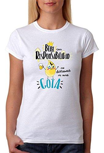 MardeTé Camiseta Bebe con Responsabilidad no derrames ni una Gota. Divertida Camiseta de Regalo para Amigas borrachas (XXL)