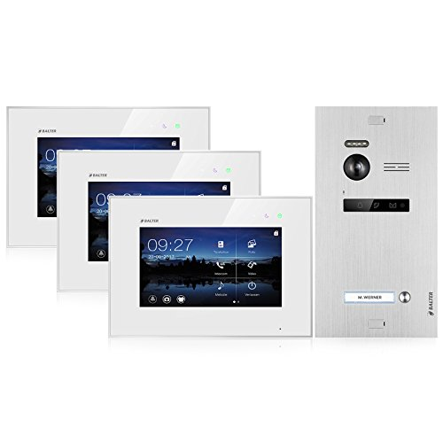 BALTER EVO Video Türsprechanlage ✓ 3 x Touchscreen 7 Zoll Monitor ✓ 2-Draht BUS ✓ Türstation für 1 Familienhaus ✓ 1 Türklingel ✓ 150° Weitwinkel-Kamera